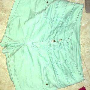 Mint high waist shorts